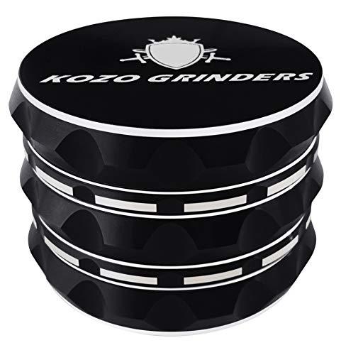 "Kozo Grinders [Upgraded Version] Best Herb Grinder. Large 4 Piece, 2.5"" Black Aluminium"