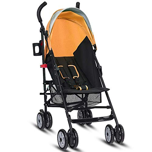 HONEY JOY Lightweight Stroller, Aluminum Baby Umbrella Convenience Stroller, Travel Foldable Design with Oxford Canopy/ 5-Point Harness/Cup Holder/Storage Basket (Orange)