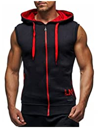 LemonGirl Men's Bodybuilding Sleeveless Hoodie Gym Tank Top