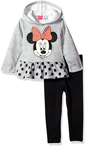 Disney Girls' Minnie Mouse 2-Piece Hooded Top and Legging Set, Gray, 24M (Clothing Mouse Minnie)