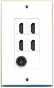 RiteAV - 4 x HDMI and 1 x Toslink Digital Audio Port Wall Plate White