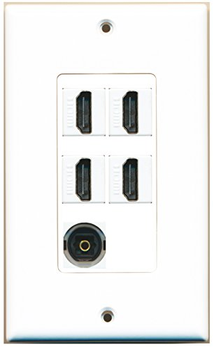 RiteAV - 4 x HDMI and 1 x Toslink Digital Audio Port Wall Plate - White
