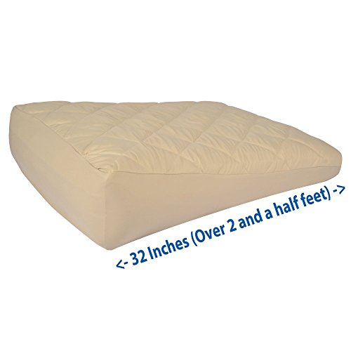 Inflatable Bed Wedge, Acid Reflux Wedge, Heavy Duty, Durable Material, Portable For Travel, Small-Size With Soft Peach Skin Custom Fitted Cover 32