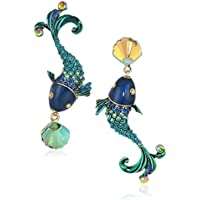Betsey Johnson Womens Colorful Fish Mismatch Drop Earrings