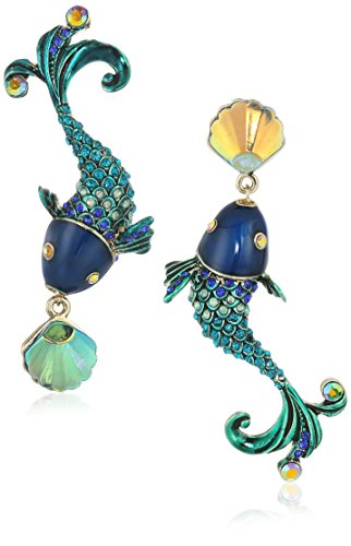 Betsey Johnson Green - Betsey Johnson Women's Crabby Couture Colorful Fish Mismatch Drop Earrings, Green, One Size