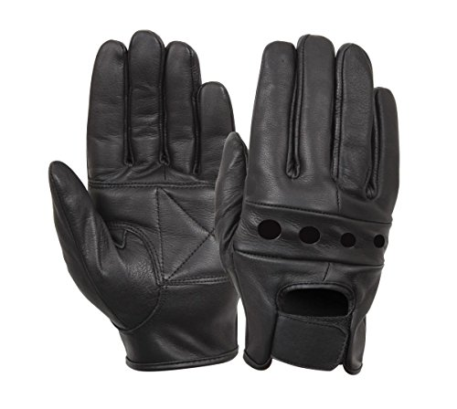 Rothco Black Leather Motorcycle Gloves, Medium