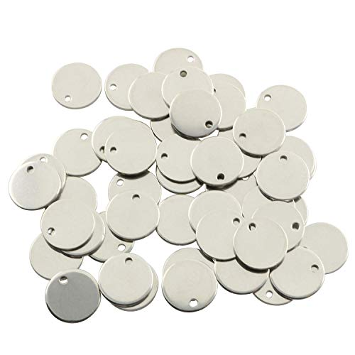 Partstock 50pcs Silver Stainless Steel Flat Round Pendant Stamping Tag Pendants Accessories for Earrings Bracelets DIY Jewelry Making Charms 12mm