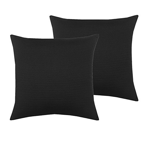 Aitliving 2 pcs Pack Pillow Cushion Covers Contemporary Basic Throw Pillow Covers Cases, 18 X 18 Inch, Poly Cotton Threading Cross Stripes Textured, Black, 45X45cm