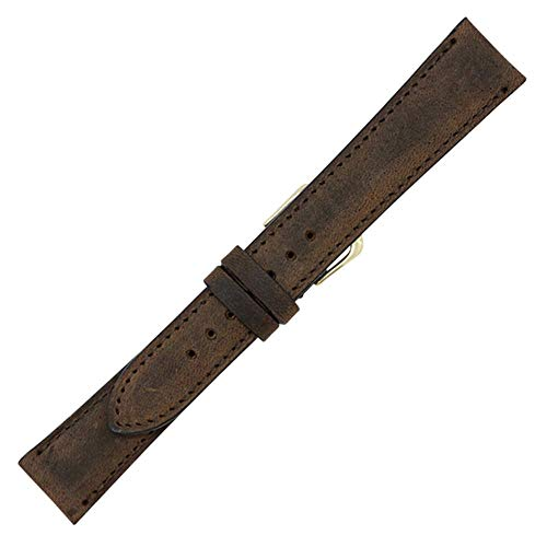 - 20mm Brown Vintage Naturally Distressed Genuine Leather - Padded Stitched Watch Strap Band - Gold and Silver Buckles Included - Factory Direct - Made in USA by Real Leather Creations FBA331