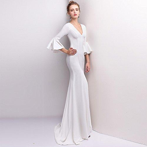 Women`s Cotylédons Sirène Robes De Soirée Mince Robe De V Cou Moitié Manches Construit En Blanc De Soutien-gorge