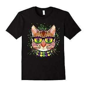 Mardi Gras New Orleans Funny Cat Mask Sunglasses T-Shirt