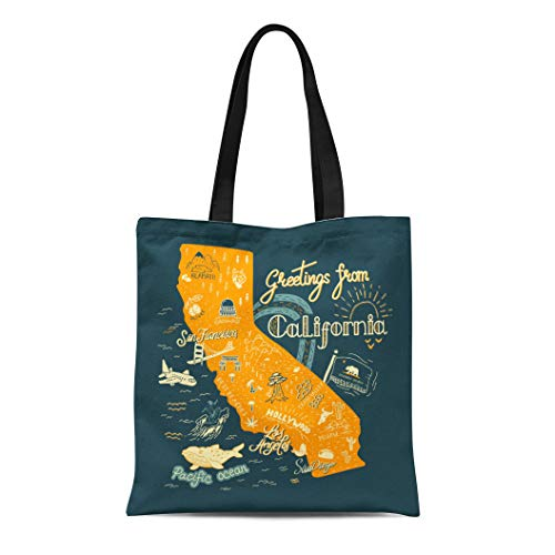 Semtomn Cotton Canvas Tote Bag Adventure of California Map Tourist Attractions Travel America Angeles Reusable Shoulder Grocery Shopping Bags Handbag Printed -