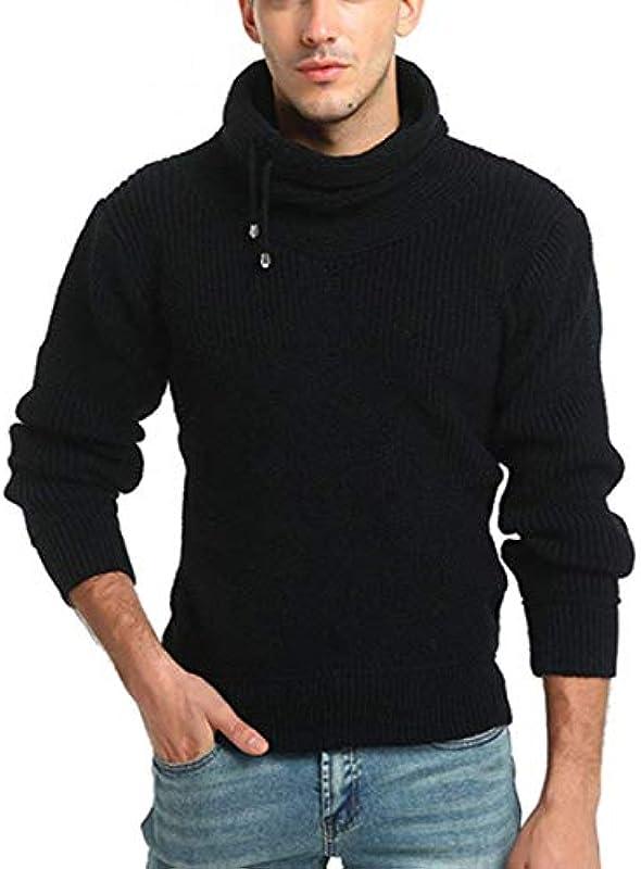 Męski sweter ze zwijanym kołnierzem jesień zima jednokolorowy sweter z dzianiny elegancki sweter z długim rękawem sweter dziergany moda sweter chłopięcy sweter dziergany - l: Odzież