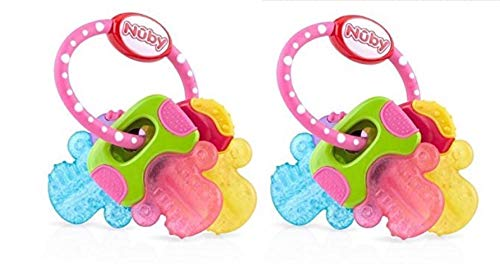 Nuby ICY Bite Keys Multi Surfaced Soothing Teether (2 Pack, Pink and Pink)