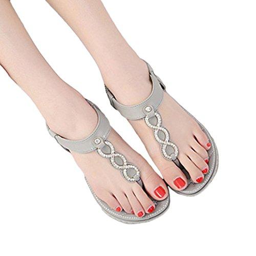 Shybuy Women Sandals, Women Summer Clip Toe Flats Sandals Beach Flip-Flop Herringbone Shoes (7, Gray) by Shybuy