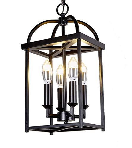 (New Legend Lighting Antique Black Finish 4-Light Hanging Lantern Iron Frame Pedant Chandelier)