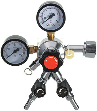 "Queenwind CO2 レギュレータビール醸造 Kegerator バートリプルゲージバルブ 5/16""CGA320 1/4"" NPT"