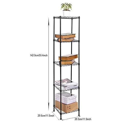 Homdox 5-Tier Wire Shelving Unit Shelf Storage Rack Organization for Kitchen Living Room Bedroom Laundry Office,Black