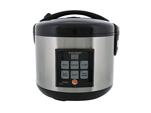 Tayama TRC-80 Digital Rice Cooker & Food Steamer, 8 Cup, Black