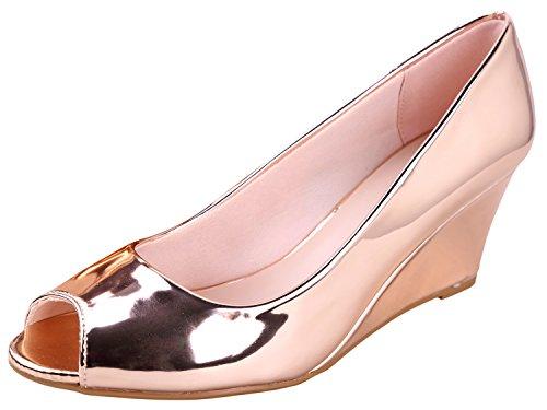 Forever Link Women's Peep Toe Slip on Wedge Pump Rose Gold 9