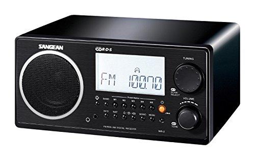 Sangean WR-2BK FM-RDS /AM Wooden Cabinet Table Top Digital T
