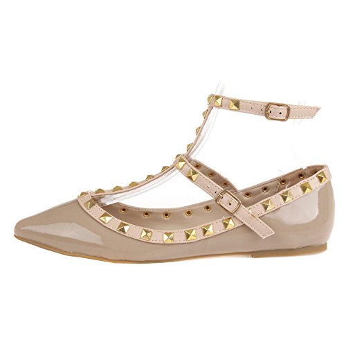 Studs Flats Diva Natural Women's Pippa T Bar Shoes Wild Patent Pointy Fashion 4I7A4q