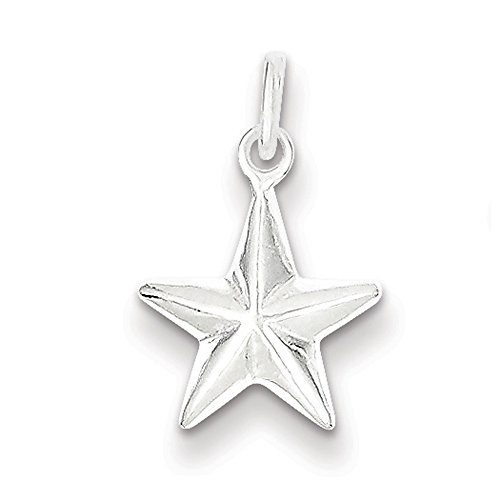 Sterling Silver 10mm Hollow Nautical Star Charm Sterling Silver Puffed Star