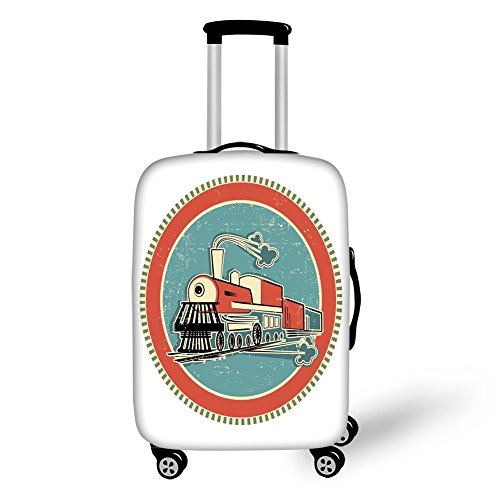 (Travel Luggage Cover Suitcase Protector,Steam Engine,Vintage Style Orange and Blue Banner Train Transportation Retro Old Print,White Coral Blue,for Travel)