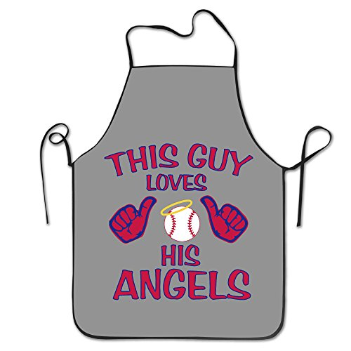 KITC This Guy Loves His Angels Baseball White Funny Unisex Barbecue Apron With Black Border Angels Apron