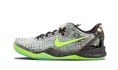 Nike Mens Kobe 8 System Ss Natale Scarpe Da Basket Sintetiche Blck, Elctrc Grn-cl Gry-mtllc G