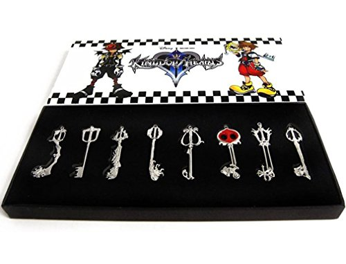 Kingdom Keys Hearts Keyblade Pendant Necklace Set Cosplay Accessories 8pcs Silver]()