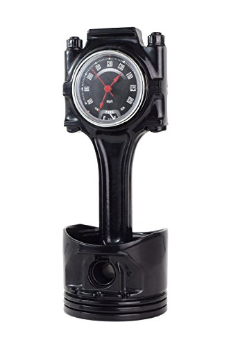 985) Cylinder Piston Desk Clock from Recycled Part Tachometer Obsidian ()