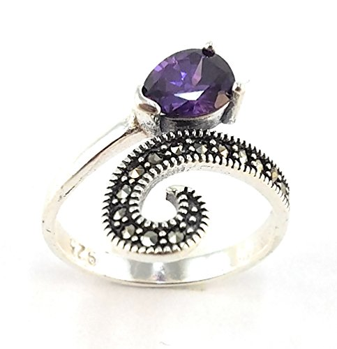 Amethyst Marcasite 925 Silver Ring - 4