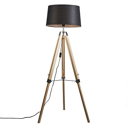 Oblungo Max QAZQA Lampada da terra regolabile tripod 1 x 40 Nero//Acciaio Legno,Acciaio Industriale