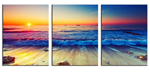 HLJ Art 3 panels Giclee Modern Nature Sunrise Seascape Artwork Stretched and Framed Wall Art Sea Waves Painting Beach Pictures Canvas Prints for Home Decoration 12x16inch