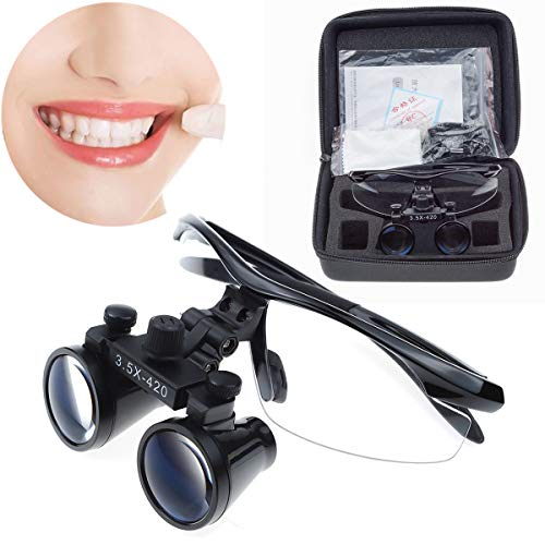Aries Outlets 3.5X 420mm Medical Binocular Loupe Surgical Dental Magnifier Different Colors to Choose (Black)