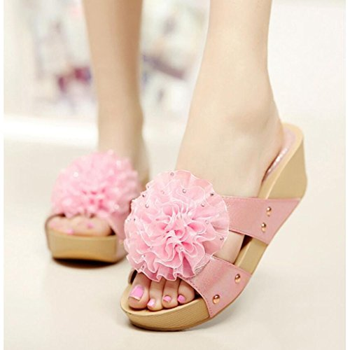 5 Shoes Travel Pink Suela Summer Mujeres Pink Eu38 Al Zapatillas Flores De Gruesa Libre color Xy uk5 cn38 Grandes Aire Muffin Tamaño Beach Sandalias Bottom Ufqxa6nBp