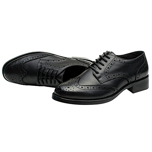 rismart Women's Brogue Pointed Toe Wingtips Work&Wedding Dress Leather Oxfords Shoes 02372(Black,US7) by rismart (Image #3)