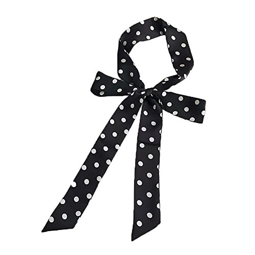(Fashion Skinny Scarf Long Polyester Women Hair Wrap Cap Hat Accessory Knot Belt (Black Polka dot))