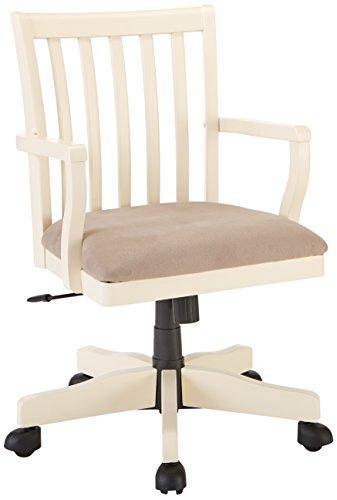Ashley Furniture Signature Design - Sarvanny Swivel Office Desk Chair - Upholstered Seat - Cream Finish