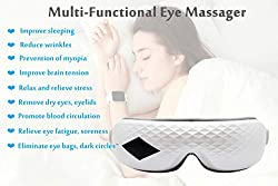 Eyes Massager,Eye Mask with Heating Rechargeable Air Pressure Vibration Eye Massager for Stress Relief Eye Bags