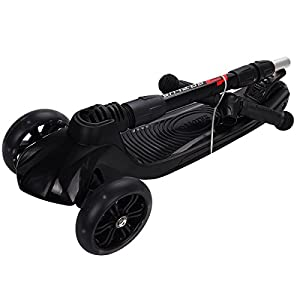 Goplus Foldable Kick Scooter 3 LED Light Wheels Adjustable Kids Scooters for Boys Girls (Black)