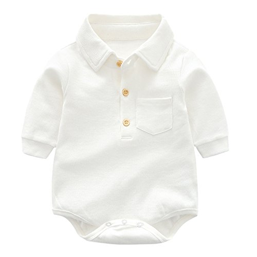 (Y·J Back home White Bodysuit,Baby Cotton Onesie Boys Long Sleeve One Piece Polo Shirt Infant Bodysuit Newborn Solid Outfit Organic Clothes Toddler Jumpsuit for Summer,18-24)