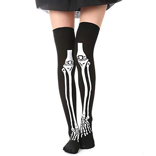 OOEOO Women Halloween Stockings, Skeleton Bone Halloween Costume High Stockings Socks -