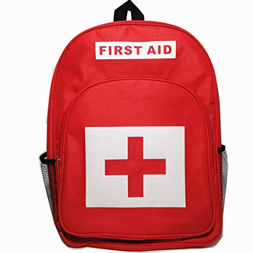 (PAXLee Red First Aid Bag Empty, First Aid Backpack Empty Medical Storage Bag Red Backpack for First Aid Kits Pack Emergency Hiking Backpacking Camping Travel Car Cycling)