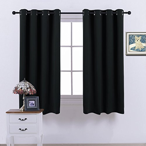 Nicetown Blackout Curtains- (Black Color) Window Panel Drapes for Bedroom, W52 x (Color Blackout Curtain)