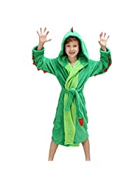 DREAMOWL Boys' Girls Plush Hooded Bathrobe - Dinosaur Fleece Robe