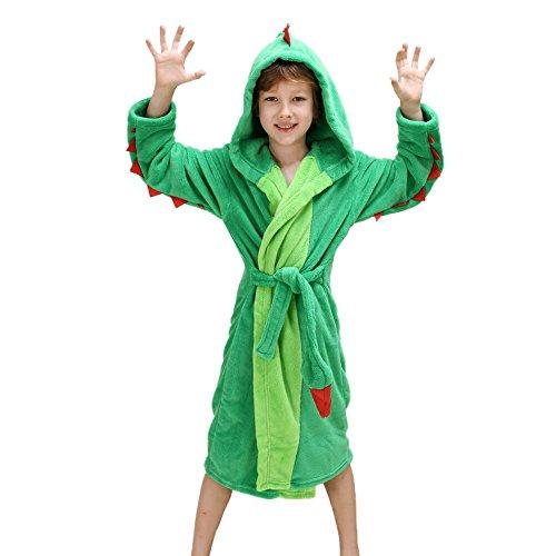 Girls Boys' Plush Hooded Bathrobe - Dinosaur Fleece Robe (Green Dinosaur, ()