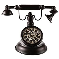 Lily's Home Old Fashioned Black Vintage Rotary Telephone Clock