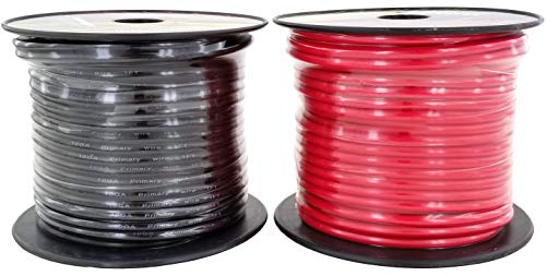 GS Power 10 Gauge Stranded Flexible Copper Clad Aluminum CCA Primary Automotive Wire for Car Audio Video Amplifier 12 Volt Trailer Harness Hookup Drone Model Train Wiring. 100ft Red & - 10 Wire Gauge Power
